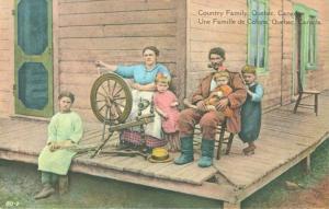 QUEBEC SURNAMES: Breton + Bonnet, Patenaude, Thibault, Vernas LOCATIONS: St-Augustin-de-Demeurs, Pointe-aux-Trembles, Quebec, Montreal | Vintage postcard Quebec traditional spinning wheel