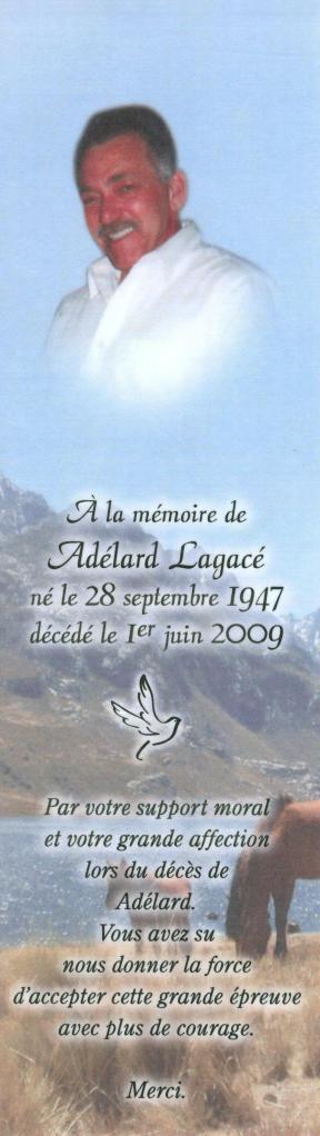 Adelard Lagace Memorial Card 001