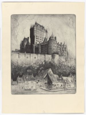 QUEBEC SURNAMES: Turgeon + Jean, Laforge, Lefebvre, Turgeon Kahnawake, Turgeon Native Algonquin, Turgeon Native Ojibway LOCATIONS: Quebec City, Beaumont, Mortagne-au-Perche | Quebec City's Chateau Frontenac, historic drawing with walls, and house below
