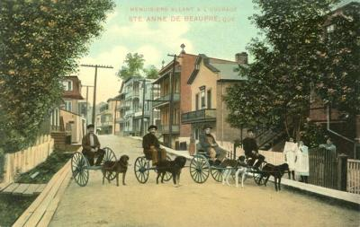 Retro Vintage Postard: Dog Carts of Quebec | Ste-Anne-de-Beaupre - Carpenters on their way to work