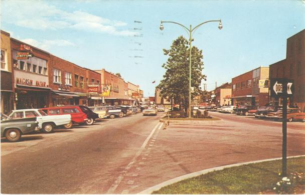 baie-comeau (cote nord, quebec) main shopping district in the 1960s