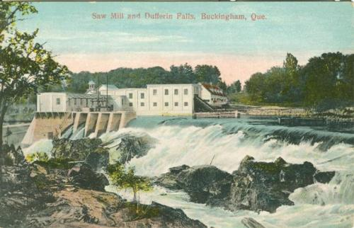 Vintage postcard of the Saw Mill and Dufferin Falls in Buckingham, Quebec | Gatineau, Outaouais, Quebec