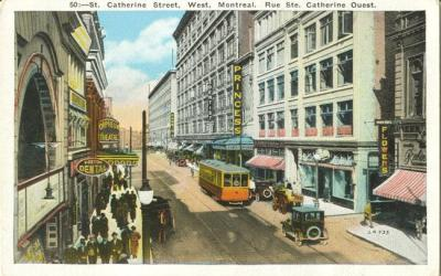 "Vintage Retro Montreal | Vintage postcard of Montreal's theatre district including the Orpheum and Princess theatres | Harry Houdini | ""St. Catherine Street, West, Montreal."