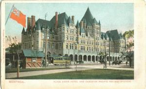 Vintage Retro Montreal | Vintage postcard of tram and horse-drawn carriages in front of Montreal's Place Viger Hotel and Canadian Pacific Railway Station | Red ensign