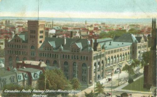 Vintage postcard of the Canadian Pacific Railway's Windsor St. station