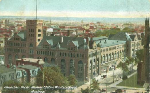 Windsor Station Montreal. Transportation, trains, historic image. A Canadian Family Vintage Postcard Collection