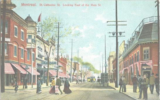 Montreal, St-Catherine Street, Trams, clothing, early 20th century. A Canadian Family Vintage Postcard Collection