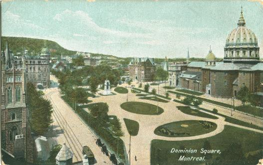 Retro Vintage Montreal | Vintage postcard of Montreal's Dominion Square now renamed as Dorchester Square.