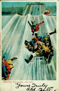 Montreal Winter Sport, toboggan, sliding. A Canadian Family Vintage Postcard Collection
