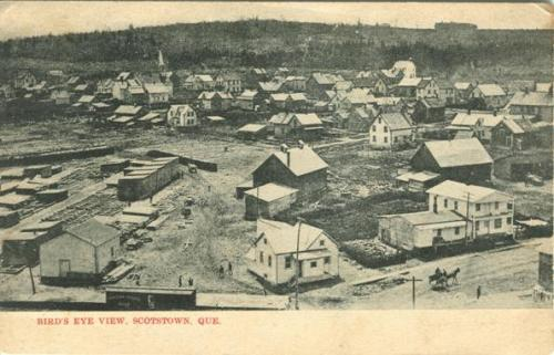 "Vintage postcard of Scotstown (Compton) Quebec with lumberyard to the lower left | ""Bird's eye View of Scotstown, Quebec"