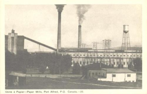 Vintage postcard of the old paper mill in Port Alfred, Quebec | Usine a paper