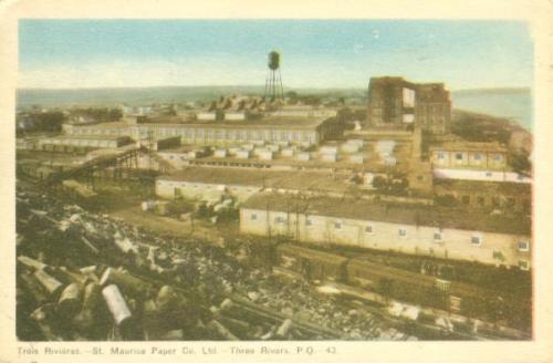 Vintage postcard (colour): Trois Rivieres, St-Maurice Paper Co. Ltd.