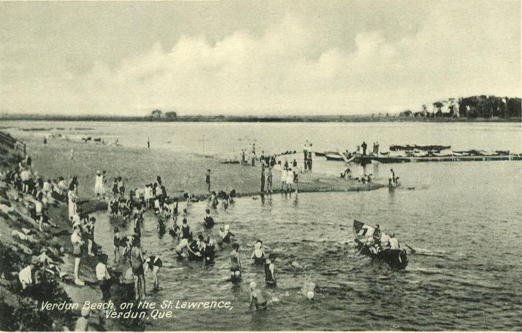 Historical verdun the beach quebec postcard pre 1960s - Piscine interieure verdun montreal toulouse ...