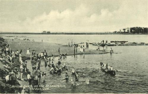 vintage postcard, bathers