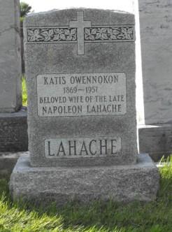 Owennokon Katis, Lahache Napoleon | Kahnawa:ke CatholicCemetery | First Nations Genealogy