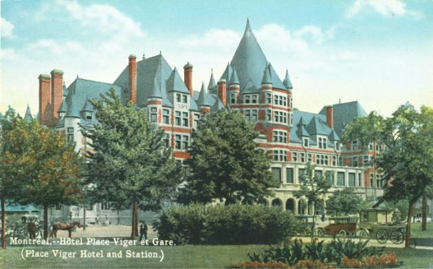Vintage postcard of Montreal's Place Viger Hotel and Train Station