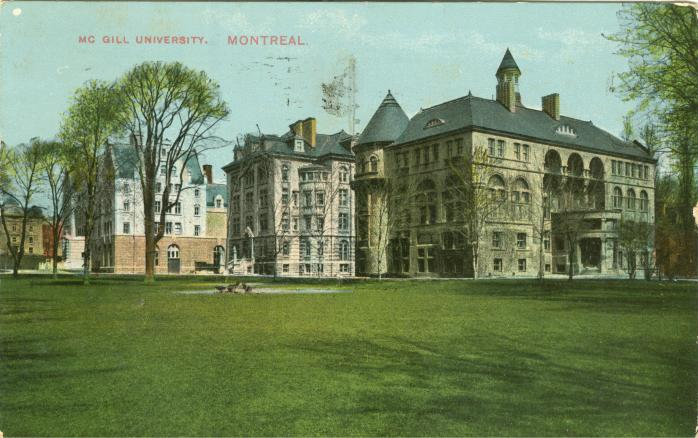 Vintage colour postcard of Montreal's McGill University.