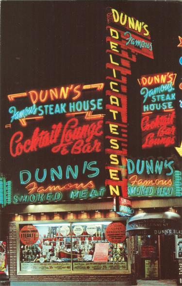 Montreal Dunn s Famous Delicatessan Steak House Cocktail Lounge Bar