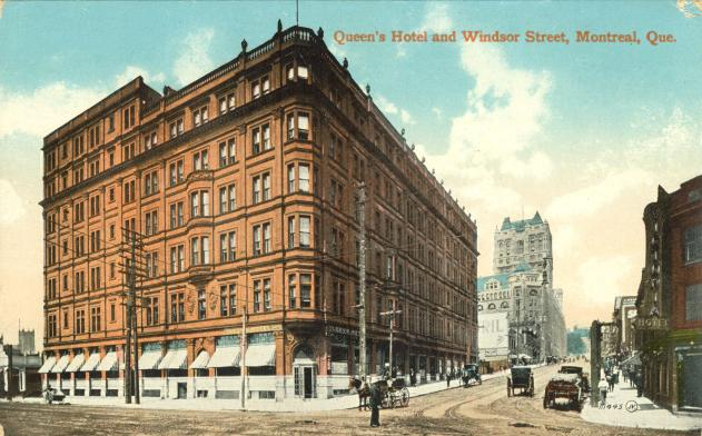 "Vintage postcard of Montreal's ""Queen's Hotel and Windsor Street"""