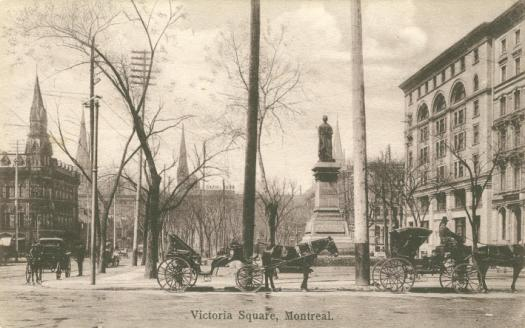 Historic images of Montreal | horse and carriages | statue | Canadian postcards