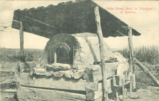 Retro Vintage Postcard: Very Rustic bake oven - roughly hewn log base, flat planked roof | Quebec traditional bake oven