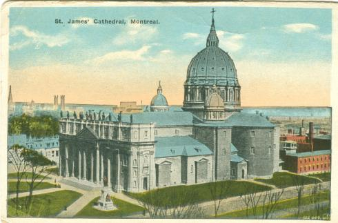 Montreal churches, historical images, Quebec postcards