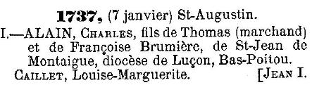 QUEBEC SURNAMES: Allain + Caille, Rose  LOCATIONS: St-Augustin-de-Desmaures, St-Laurent on Montreal Island