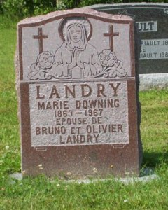 Headstone: DOWNING    |  St. Joachim, Bertrand  | New Brunswick Cemeteries