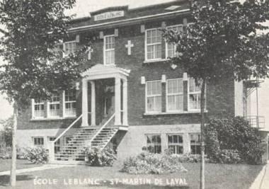 QUEBEC SURNAMES: Bourgault, Blanc, Menage LOCATIONS: Contrecoeur, Carleton, Quebec | Vintage postcard of Ecole Leblanc in St-Martin-de-Laval