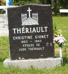 Headstone: GIONET    St. Joachim, Bertrand   New Brunswick Cemeteries