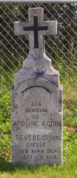 Headstone: GODIN    St. Joachim, Bertrand   New Brunswick Cemeteries