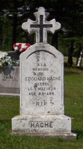 Headstone: HACHE  | St. Joachim, Bertrand | New Brunswick Cemeteries