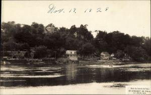 QUEBEC SURNAMES: Thibodeau + Durocher, Avrard LOCATIONS: St-Francois-de-Sales (Ile-Jesus), Marans (France | Vintage postcard (1920s) of St-Vincent-de-Paul on Ile-Jesus.
