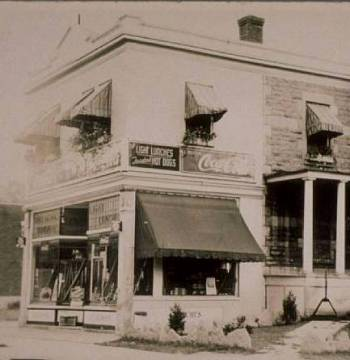 QUEBEC SURNAMES: Brochu, Saulnier, Lafontaine LOCATION: Quebec | Vintage photograph of J.A. Brooch's Sweet store (candy shop) in Montreal, Quebec
