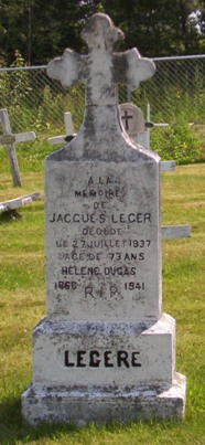 Headstone: LEGERE    |  St. Joachim, Bertrand  | New Brunswick Cemeteries