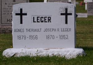 Headstone: LEGER  | St. Joachim, Bertrand | New Brunswick Cemeteries