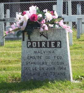 Headstone: POIRIER  | St. Joachim, Bertrand | New Brunswick Cemeteries