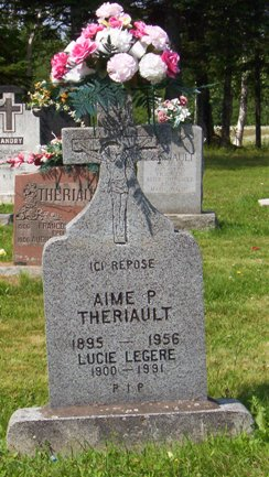 Headstone:  LEGERE LEGER   |  St. Joachim, Bertrand  | New Brunswick Cemeteries