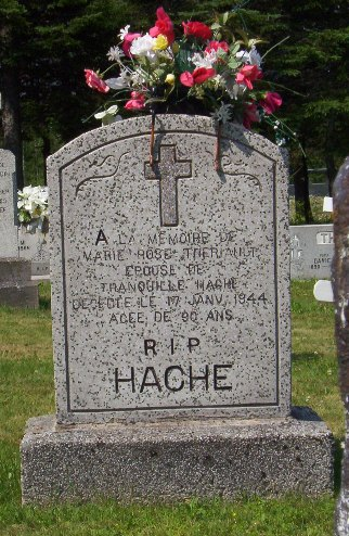 Headstone: HACHE    |  St. Joachim, Bertrand  | New Brunswick Cemeteries