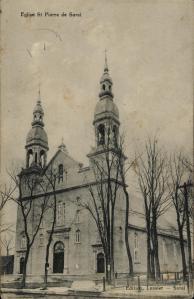 QUEBEC SURNAMES: Normandin + Hayot, Renaud, Cartier LOCATIONS: Sorel, Quebec | Vintage postcard of St-Pierre-de-Sorel Church.