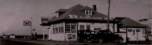 QUEBEC SURNAMES: Mailloux + Coulombe, Delaunay, Henault, Mailloux Kahnawake, Mailloux Native Ojibway, Mercier LOCATIONS: Chambly, Quebec, Brie-sur-Matha, L'Islet | Vintage photograph of Oscar Mailloux Restaurant, Valleyfield, Quebec
