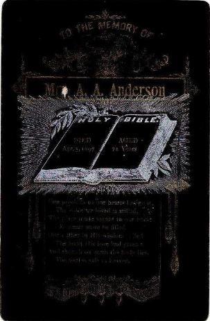 Anderson AA Memorial Card