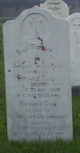 Headstone: Desrosiers |Val Brillant Cemetery | Quebec Cemeteries