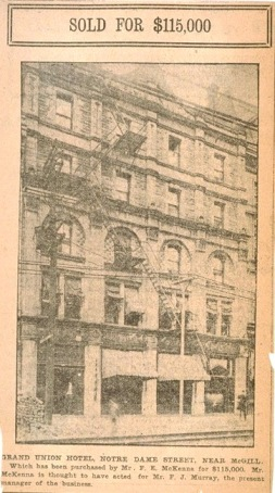 Historic Montreal hotel at turn of the 20th century