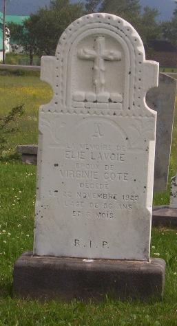 Headstone:  Val Brillant Cemetery   Quebec Cemeteries