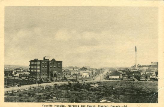 Vintage postcard of Youville Hospital in Noranda and Rouyn.