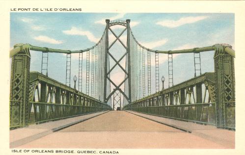 QUEBEC SURNAMES: Rousselot + Fribault LOCATIONS: Ste-Famille (Ile d'Orleans) | Vintage postcard of the the Ile d'Orleans bridge (Isle of Orleans Bridge. Quebec