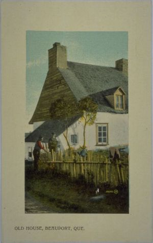QUEBEC SURNAMES: Damien + d'Esquincourt, Guillot LOCATIONS: Quebec, Beauport | Vintage image of an historic old house in Beauport, Quebec