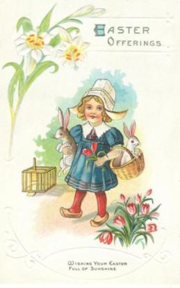 Free Vintage scrapbook | Easter Daffodils & Tulips | Dutch Clogs