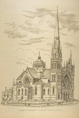 QUEBEC SURNAMES: Villiers + Jarret de Vercheres, Prevost LOCATIONS: Vercheres, Montreal | Vintage drawing of Longueuil Church
